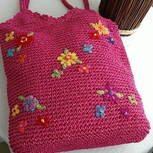 NEW St. John's Bay Embroidery Pink Straw Tote Bag